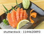 salmon sashimi with withe plate ...   Shutterstock . vector #1144620893