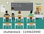 students and teacher in... | Shutterstock .eps vector #1144623440