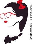 beauty girl face | Shutterstock .eps vector #114463048