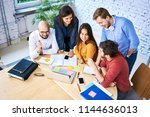 group of students studying for... | Shutterstock . vector #1144636013