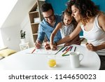 parents  teach they young ... | Shutterstock . vector #1144650023