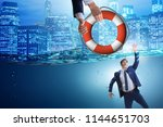 businessman being saved from... | Shutterstock . vector #1144651703