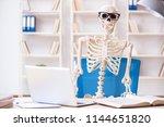 skeleton businessman working in ... | Shutterstock . vector #1144651820