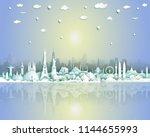 landmarks of the world with... | Shutterstock .eps vector #1144655993