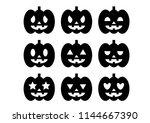 halloween icons set  pumpkin ... | Shutterstock .eps vector #1144667390