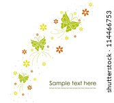 Stock vector beautiful floral background with butterflies 114466753