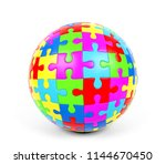 colorful spherical puzzle on... | Shutterstock . vector #1144670450