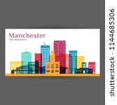 manchester city architecture... | Shutterstock .eps vector #1144685306