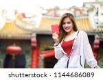 young traveler asian woman... | Shutterstock . vector #1144686089
