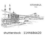 ortak y mosque along the... | Shutterstock .eps vector #1144686620