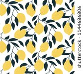 seamless pattern with citrus... | Shutterstock .eps vector #1144686806