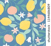 seamless pattern with citrus... | Shutterstock .eps vector #1144686809