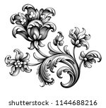 Stock vector tulip peony flower vintage baroque victorian frame border floral ornament leaf scroll engraved 1144688216