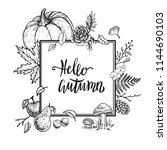 autumn vector hand drawn design.... | Shutterstock .eps vector #1144690103