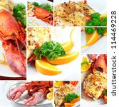 Small photo of Collage Lobster thermidor salad, Macro closeup for design work