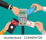hands with transport card ... | Shutterstock . vector #1144694720