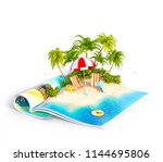 deck chairs under the beach... | Shutterstock . vector #1144695806