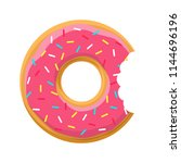 sweet pink bitten donut with... | Shutterstock .eps vector #1144696196