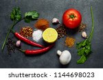various herbs and spices on... | Shutterstock . vector #1144698023