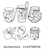 apple jam in a jar and apples ... | Shutterstock .eps vector #1144708946