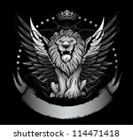 winged lion front view insignia | Shutterstock .eps vector #114471418