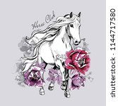running white horse and pink... | Shutterstock .eps vector #1144717580