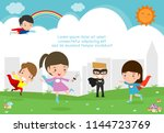 superhero kids at playground ... | Shutterstock .eps vector #1144723769