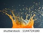 orange juice crown splash... | Shutterstock . vector #1144724180