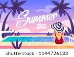 girl and swimming pool. summer... | Shutterstock .eps vector #1144726133