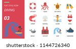 diving icon pack flat style.... | Shutterstock .eps vector #1144726340