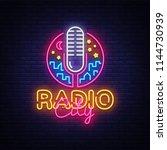 radio neon logo vector. radio... | Shutterstock .eps vector #1144730939