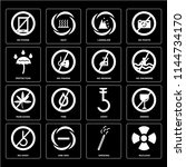 set of 16 icons such as nuclear ... | Shutterstock .eps vector #1144734170