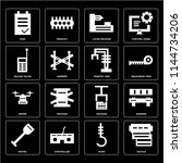 set of 16 icons such as textile ...
