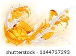 splashes of milk and mango... | Shutterstock .eps vector #1144737293