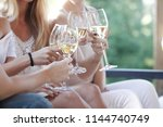 happy female friends toasting... | Shutterstock . vector #1144740749