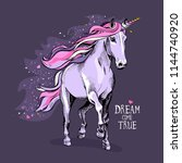 magical violet unicorn with a... | Shutterstock .eps vector #1144740920
