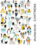 Stock vector cute vector zoo alphabet poster with cartoon animals set of kids abc elements in scandinavian 1144748366