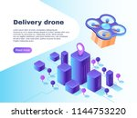 modern futuristic delivery... | Shutterstock .eps vector #1144753220