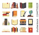 flat books icons. magazines... | Shutterstock .eps vector #1144753229
