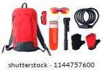 set of sport accessories and... | Shutterstock . vector #1144757600