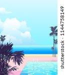 peaceful nostalgic seaside... | Shutterstock .eps vector #1144758149