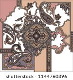traditional paisley textile... | Shutterstock .eps vector #1144760396