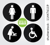 black circle toilet sign with... | Shutterstock .eps vector #114476119