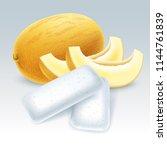 bubble gum with honeydew melon... | Shutterstock .eps vector #1144761839