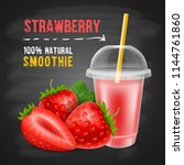 strawberry smoothie in... | Shutterstock .eps vector #1144761860