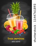 fruits and berries smoothie in... | Shutterstock .eps vector #1144761893