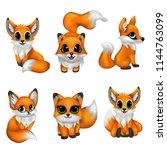 Stock vector set cute fox cartoon 1144763099