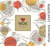 background with wok  chinese... | Shutterstock .eps vector #1144763906