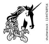 unicorn head among iris flowers ... | Shutterstock .eps vector #1144768916