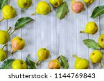 ripe pears on the table. pears... | Shutterstock . vector #1144769843